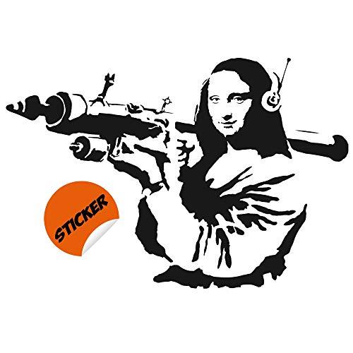 Adesivo da parete Banksy Mona Lisa, decalcomania in vinile per computer portatile, tablet da Vinci Joconda Art – Donna Smile Launcher Street Bazooka DIY Decor, 55   x 37   (140x95 cm)