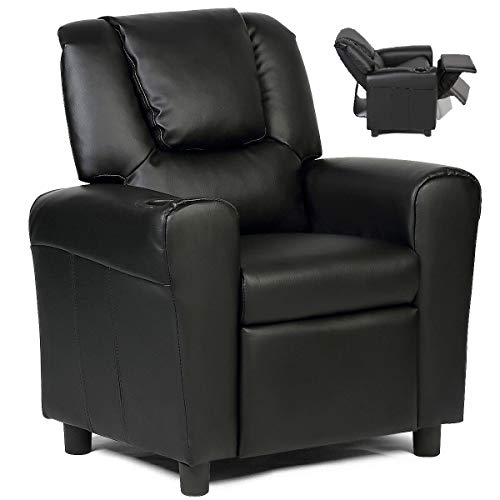 Costzon Kids Recliner Chair with Cup Holder, Toddler Furniture Children Armrest Sofa w/Headrest & Footrest for Girls Boys Baby Bedroom, Kids Room, PU Leather Kids Recliner Couch (Black)