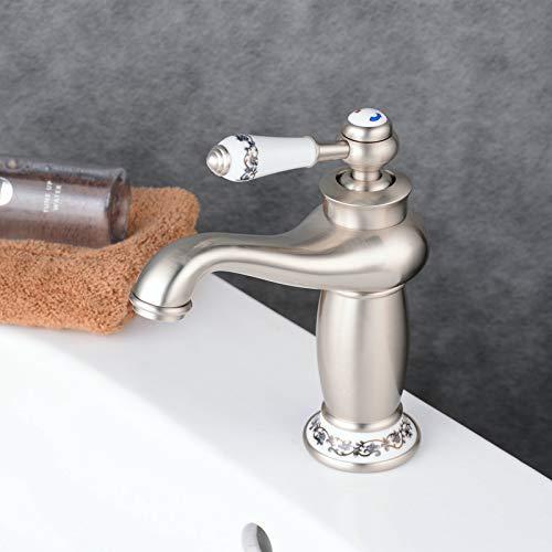 Grifo mezclador monomando para lavabo o lavabo,Vintage Floral de una Sola Manija del Grifo del Mezclador Grifo de Bronce de Agua Caliente Fría para Baño Lavabo Decoración del Hogar(Niquel pulido)