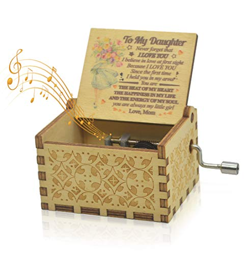 Sooharic Hand Crank Music Box Tune You are My Sunshine, Unique Gifts Vintage Engraving Wooden Sunshine Music Box (from Mom03)