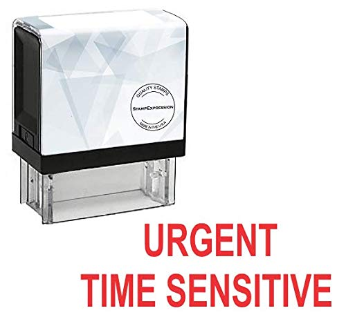 StampExpression - Urgent TIME Sensitive Office Self Inking Rubber Stamp - Red Ink (A-5875)