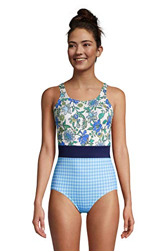 Lands' End Womens Chlorine Resistant Tugless Tank Soft Cup One Piece Swimsuit-Belted Lotus Floral/Navy/Gingham Long Torso