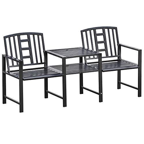 Outsunny Panchina da Giardino Moderna 2 Posti con Tavolino e Foro per Ombrellone Arredamento da Esterno 165x52x83cm Nero