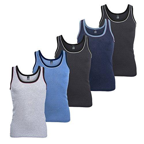 MT Herren Melange Tank Top (5er Pack), Baumwoll Feinripp Unterhemd ohne Arm - 5farb-Pack mit Blau XL (48-50)