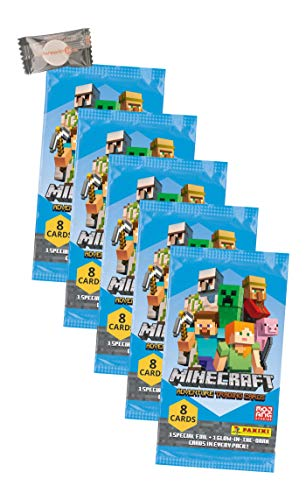 ★ Minecraft Karten Adventure - Minecraft Trading Cards (2021) - 5 Booster + stickermarkt24de Gum