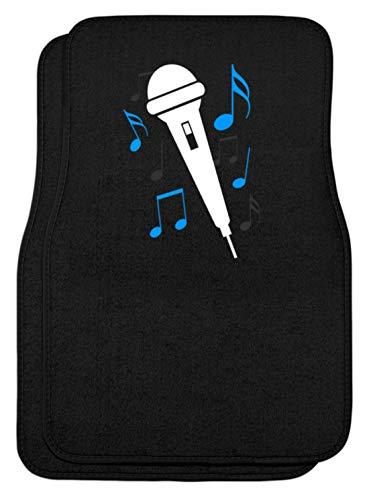 SPIRITSHIRTSHOP Micrófono, cantante, cantante, cantante, partituras, canto, música, estar, banda, hobby, famoso, alfombrillas para coche Negro Talla única
