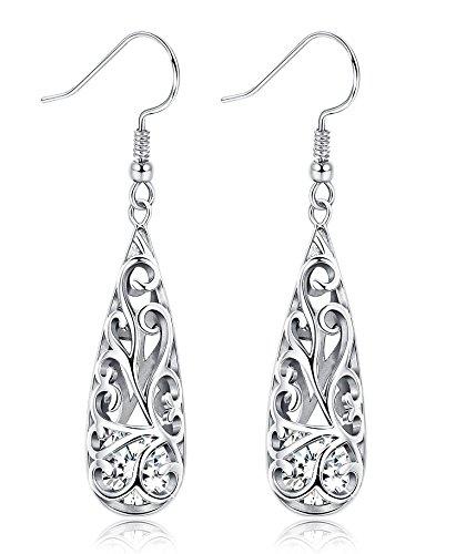 BESTEEL 925 Sterling Silber Teardrop Ohrringe Anhänger für Frauen Damen CZ Ohrringe Lange Anhänger Modeschmuck Geschenk Elegante Vintage