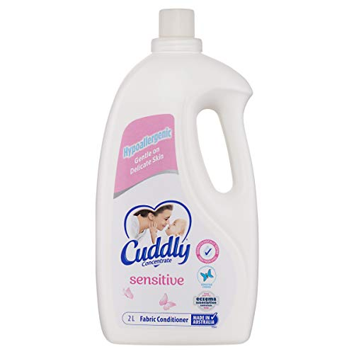 Cuddly Concentrate Liquid Fabric Softener Conditioner Sensitive 2L, 80 Washes, Made in Australia, Gentle on Sensitive Skin, Hypoallergenic, Dermatologist Tested, Sensitive Choice, Luxurious Softness