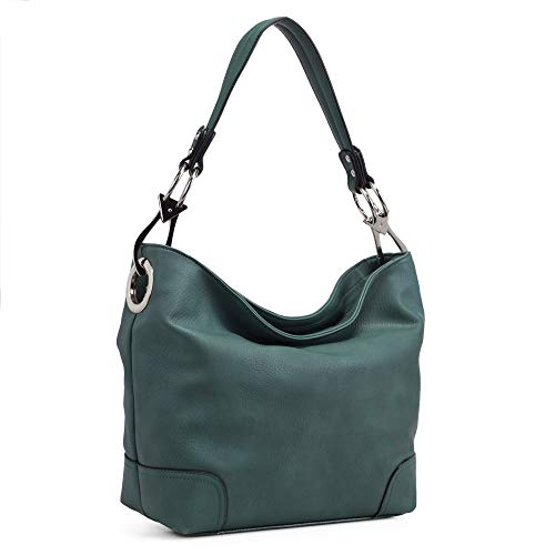 Mia K Collection Hobo Bag for Women - PU Leather Handbag - Womens Shoulder Bag Top Handle Fashion Pocketbook Purse Forest Green
