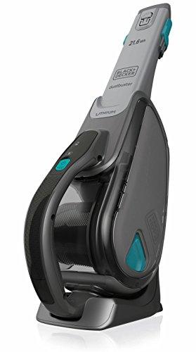 BLACK+DECKER DVJ320B-QW Aspirateur à main sans fil - 10,8 V - Autonomie : 10 ou 15 min - Charge : 5h - Base de charge - Prolongateur intégré et brosse retractable , 500 ml, Gris et bleu