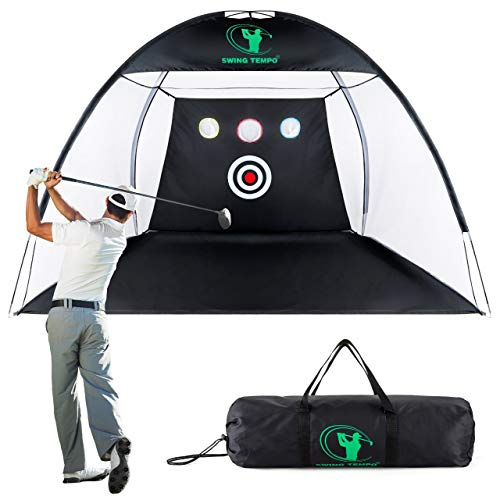 SWINGTEMPO Golf Nets for Backyard Driving with Carry Bag, 10ft x 7ft Golf Practice Nets for Backyard with 3 Aim Golf Target, Collapsable Easy to Carry Indoor Golf Net, 50% Stronger Golf Cage
