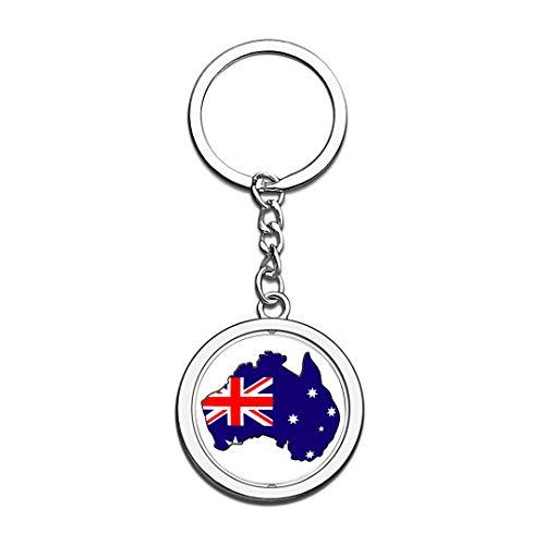Karte Australien Nationalflagge Schlüsselbund 3D Kristall Kreative Spinning Runde Edelstahl Schlüsselbund Travel City Souvenir Schlüsselanhänger Ring