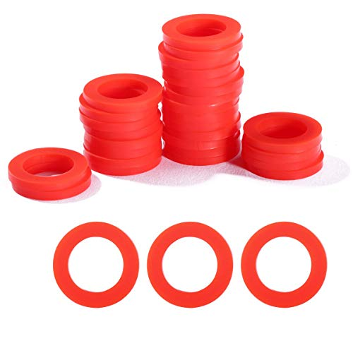 Litorange 30 PCS Outdoor Garden Hose Washer Gasket Combo Pack Red. Made from Soft Silicone (Not Rubber, Better Sealing Than Rubber),Used for Faucets 3/4' Fittings Washing Machine Hot Water.