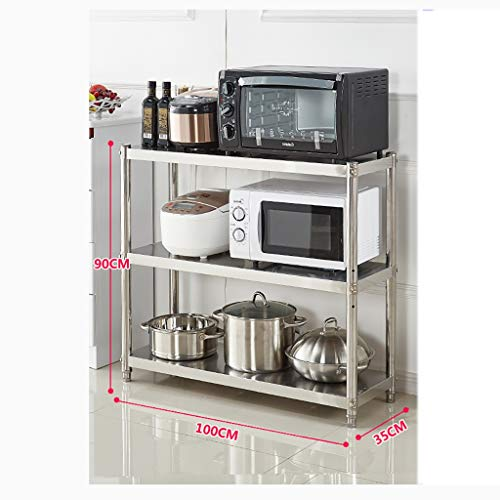 WSCC Rejilla de microondas Estantes Ajustables libremente Alta y Baja Cocina, anaqueles de Acero Inoxidable Estantes Horno de microondas (tamaño : 100cm × 90cm×35cm)