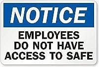 2個 注意:従業員は安全なブリキの看板金属板装飾看板家の装飾プラーク看板地下鉄金属板8x12インチにアクセスできません メタルプレート レトロ アメリカン ブリキ 看板