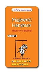 Word board games perfect for travel, Magnetic Hangman, orange tin with cartoon hanging above letters