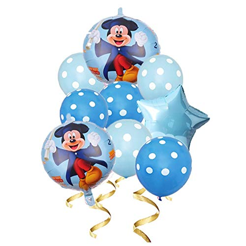 XIAOYAN Balloon Mickey Minnie Mouse 9pcs/set Foil Balloon Set Baby Birthday Party Decoration Supplies Multiple Style Weeding Disney Balloon Set (Color : Emerald)