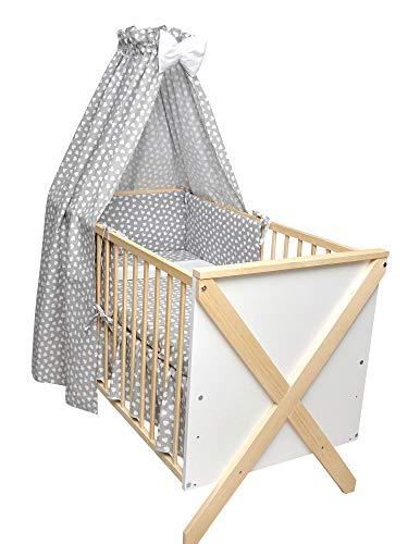 Rundum Zoe - Cuna para bebé (120 x 60 cm, incluye juego de ropa de cama, colchón completo, barra de dosel)