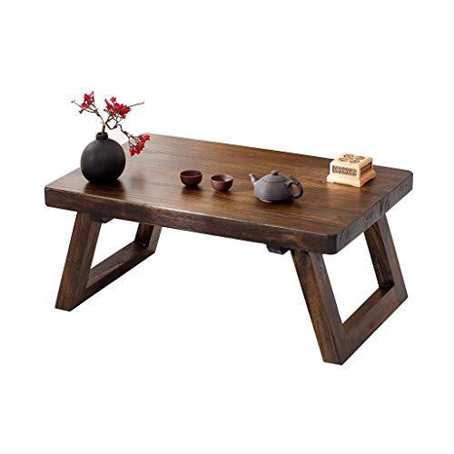 Tables Basse en Tatami À Thé Kung Fu Salon en Bois Massif Balcon Baie Vitrée Petit Bureau À Thé Ancienne en Orme Ancien Basses (Color : Brown, Size : 50 * 35 * 25cm)