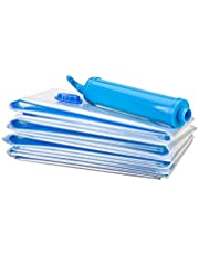 GJT Vacuum Storage Bags,6 Pack Reusable Sealer Space Saver Bags Vacuum Sealer Bags with Double Zip Locks for Garment,Pillows,Blankets,Comforters,Towel, Mattress 60 * 80CM