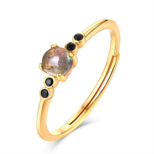IWINO 925 sterling zilveren stapelbare ringen voor vrouwen labradoriet edelsteen goud luxe fijne sieraden bruiloft Halloween sieraden