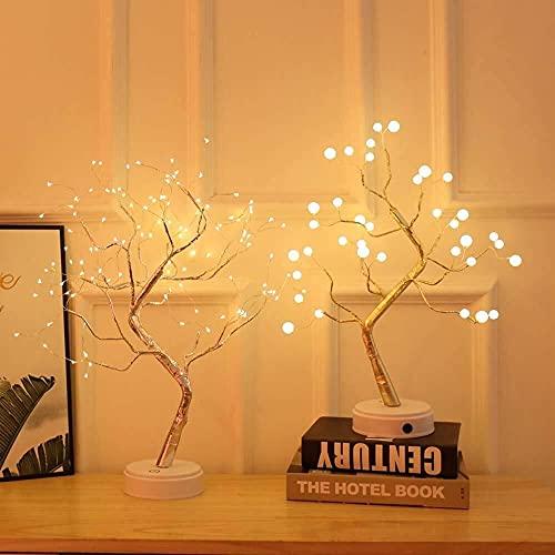 CMMT Lámpara de Mesa Tree Firefly Pearl Interruptor de Pantalla táctil LED lámpara de Escritorio de Alambre de Cobre Luminoso USB/batería (Color:Pearl, Tama?o:36LE)
