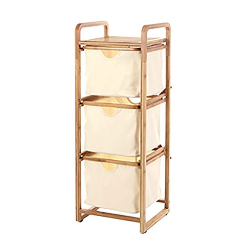 Wasmand, hamer met 3-voudige bamboe Oxford, 3 lagen bamboe opbergbox 34,5 × 30 × 92 cm