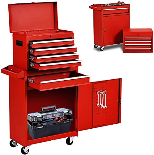 High Capacity 5-Drawer Tool Chest Tool Box, Large Rolling Tool Chest Tool Storage Cabinet,Big 2 in 1 Toolbox Tool Organizer with Wheels and Lockable Drawer (Red)