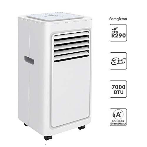 Famgizmo | 3 in 1 LED Klimaanlage Mobiles Klimagerät kühlen, Luftentfeuchter, lüften, Ventilator | 7000 BTU | 2 Ventilationsstufen | 24h Timer | EEK: A | Schlafmodus | R290 | Fernbedienung | Weiß |