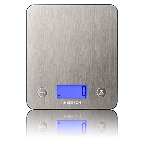 SEBSON Küchenwaage digital bis 5kg, Edelstahl Feinwaage 1g genau, Gramm und ml, Zuwiegefunktion (Tara), 18mm flach, große Wiegefläche 218x188mm