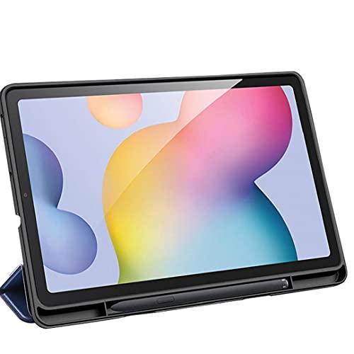 Tuimiyisou El Caso es Compatible con Samsung Galaxy Tab S6 Lite 10.4 Pulgadas P610 P615 Cubierta de la Caja TPU de Tres Veces Delgada con sostenedor de la Pluma Azul