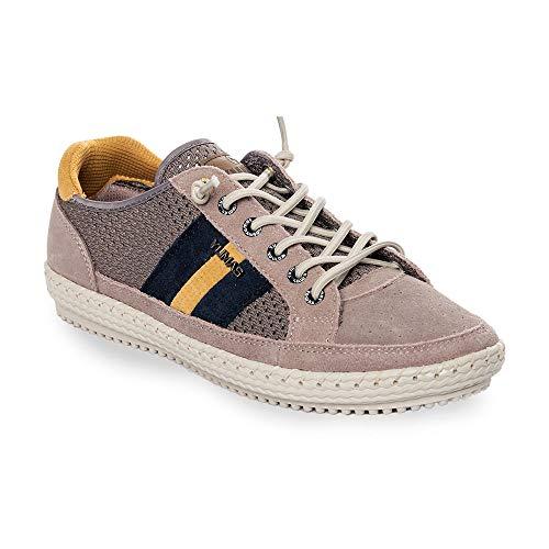 Zapatilla Sneaker Yumas Austria Camel Fabricado en Piel Serraje y Nylon Perforado Plantilla Confort Látex para Hombre