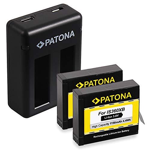 PATONA Caricabatteria doppio con 2x Batteria compatibile con Insta360 One X Action Cam