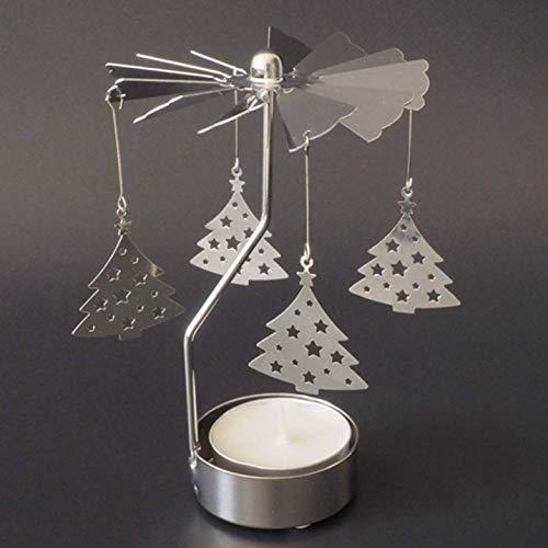 djryj geloofwaardige vrolijke kerst roterende draaiende kaars houder kandelaar metalen carrousel huisdecoratie sneeuwvlok kerstboom cadeau voor huis decoratie