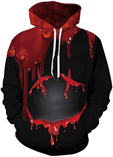 Chaos World Hombres Sudaderas con Capucha cordón Bolsillos 3D Impreso Pullover Hoodies (017 Smile,XL)