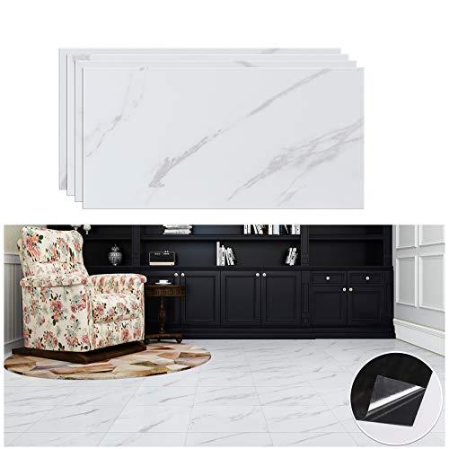 VEELIKE, baldosas de mármol Blanco, Granito, Adhesivo Autoadhesivo para Suelo, película de renovación de Suelo para Cocina, baño, Impermeable, 30 cm × 60 cm, 4 Piezas