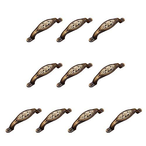 MLOZS Juego de 10 tiradores para puerta de 135 mm, diseño vintage de rosas de aleación de zinc, color bronce antiguo, mango de gabinete estilo rústico vintage