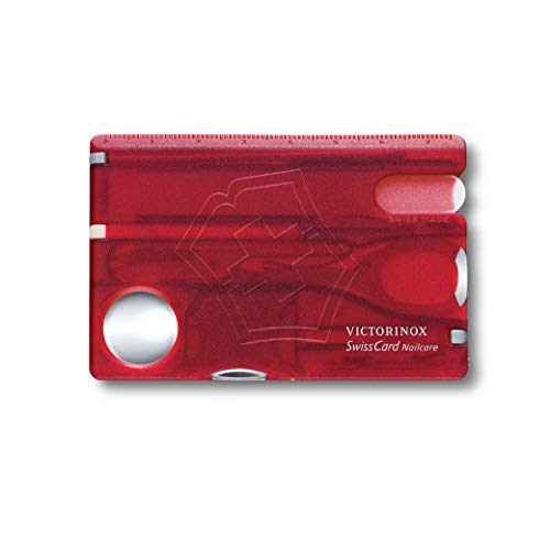 Victorinox Taschenmesser Swiss Card (Nailcare, 13 Funktionen, Nagelfeile, Schere) rot transparent