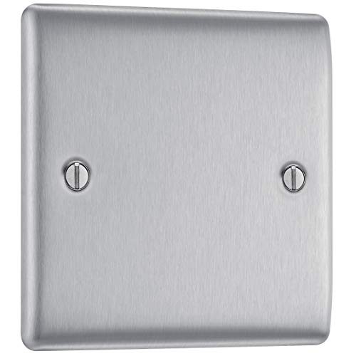 BG Electrical Single Light Switch, Brushed Steel, 2-Way, 10AX, Intermediate
