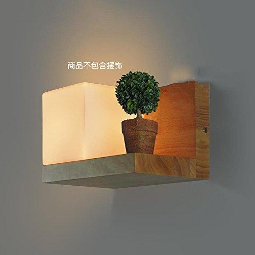 Kreative Land Retro Restaurant Gang Bar Wandlampe Nachttisch Café Eiche Zucker Würfel Wandlampe Schlafzimmerlampe Retro Wandlampe, groß-A Abschnitt - linke Lampe - ohne grüne Pflanze