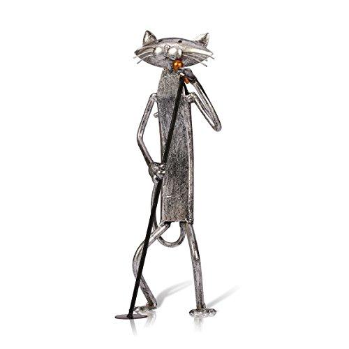 Tooarts Escultura de metal gato con guitarra figurita regalos para acción de gracias, navidad, manualidades y decoración del hogar