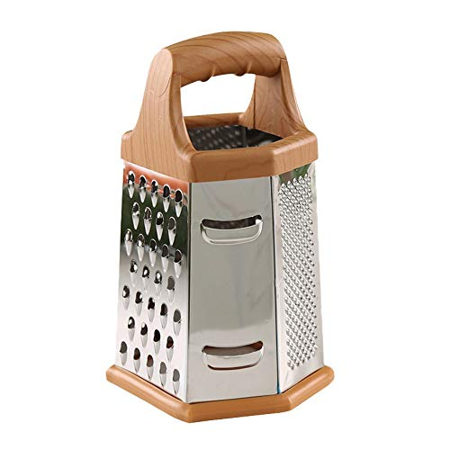 SXXYTCWL 6-in-1 Vegetable Cutter Manual Rotating Stainless Steel Shredder Household Kitchen Six-Sided Fruit and Vegetable Grater Adapted to Potato Carrot Cucumber Slicer (Brown)