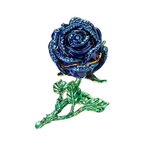 Caja de almacenamiento creativa de la joyería de la flor de la rosa de la aleación de los anillos del diamante de imitación del caso de los pendientes