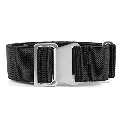 KZFASHIONS NATO Watch Strap, 18mm 20mm 22mm NATO Nylon Elastic Watch Strap Silver Buckle Parachute Watch Band Military Bracelet