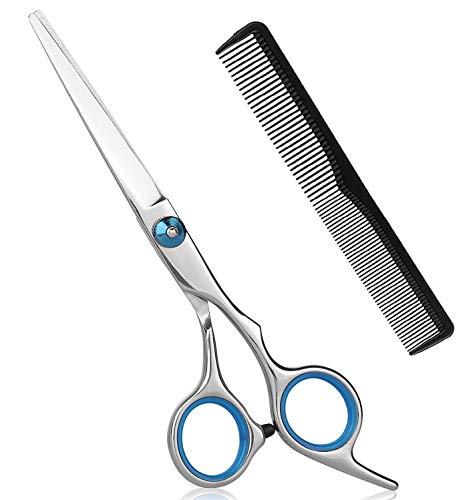 Haarschere Profi, Friseurschere Scharfe, Edelstahl Haarschneideschere mit Kamm - Präziser Schnitt - Perfekter Haarschnitt für Kinder, Damen und Herren