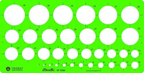 Gabarito Desetec Circulografo em Milímetros, 35 Círculos de 1 a 35 mm, 4384, Trident, Verde, 24.5 x 12 cm