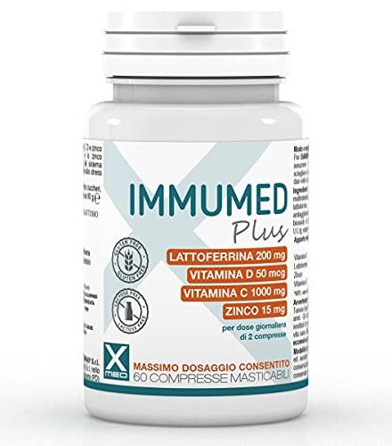 Immumed Plus, Lattoferrina pura, 60 compresse ad Alto Dosaggio con Vitamina D, Vitamina C e Zinco, Stimola Difese Immunitarie, Antiossidante, Lattoferrina Integratori | XMED (60)