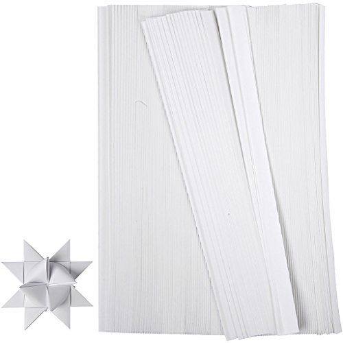 Papiersternstreifen B: 15 mm, weiß, 500 Stück, L: 45 cm