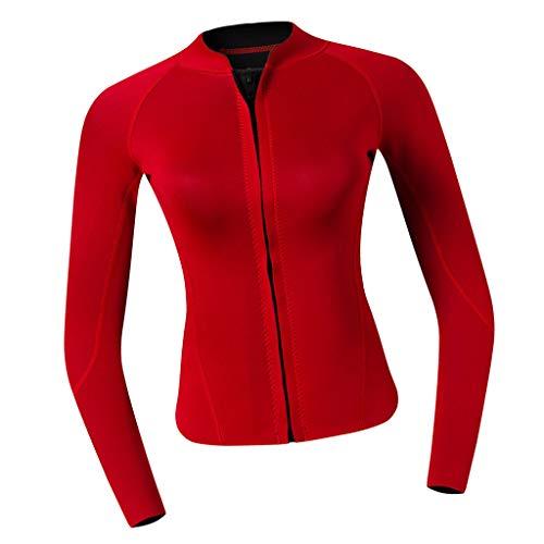P Prettyia 2MM Neopren Damen Langarm Neoprenanzug Jacke Sonnenschutz Tauchanzug Surf Suit Schwimmanzug für Frauen - rot, M