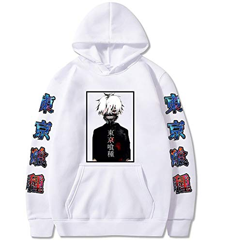 Aiqing Tokyo Ghoul Sudadera con Capucha Unisex Anime Ken Kaneki Manga Larga Hip Hop Tops Ropa Deportiva Suter con Bolsillo de Canguro